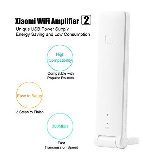 WiFi Range Extender, Xiaomi WiFi Repeater 2 WiFi Signal Booster Universal WiFi Amplifier 300Mbps 802.11n Wireless USB WiFi Extenders Signal Booster (White) - coolthings.us