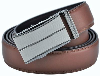 Hampton Leather Belt with Innovative Contempo Sienna Ratchet Belt Buckle - One Size Fit, Saddle ()