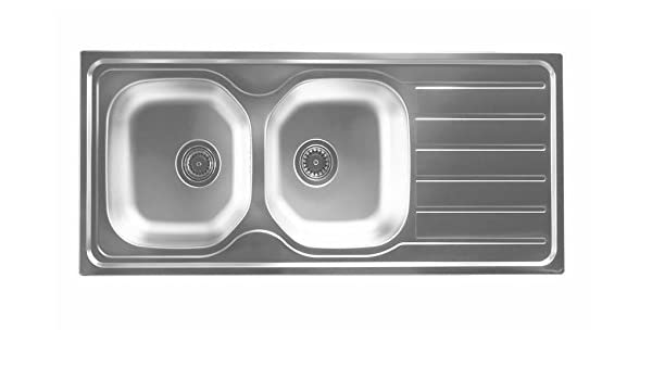 Acero inoxidable doble Platillos fregadero 116 x 50 cm, incluye ...