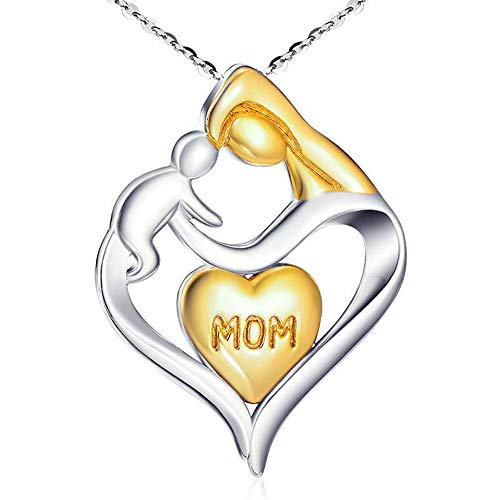 FKGIONG Mother's Day Necklace Pendant Gold and Silver Chic Mother and Child Love Heart Pendant NecklaceThe Best Gift for Mom (Gold and Silver)
