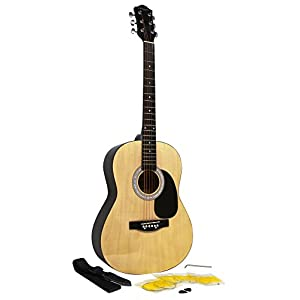 Martin Smith W-100 Acoustic Guitar Package with Strings, Plecs, Strap – Natural