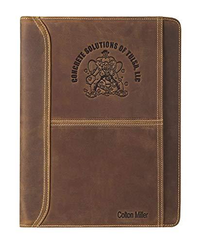 Gravurname und Logo Premium Leder Schreibmappe Aktenmappe, Handgemachte Dokumentenmappe aus Rinds Leder, A4…
