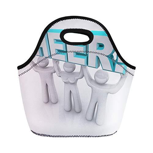 Semtomn Lunch Bags Members Team of Cheerleaders Lift the Word Cheer Neoprene Lunch Bag Lunchbox Tote Bag Portable Picnic Bag Cooler -
