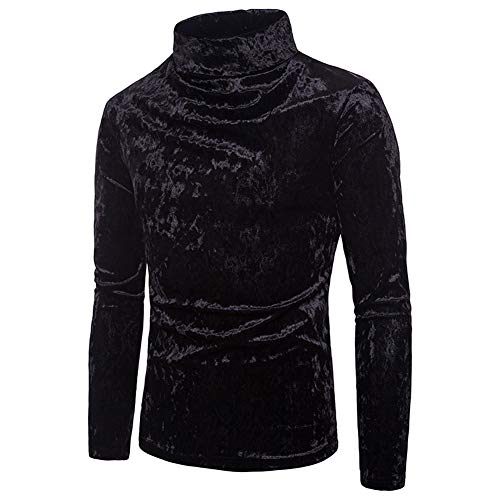 Mock Velour Turtleneck - Men's Turtleneck Long Sleeve Shirts Hipster Velvet Thermal Pullover Blouse Top (S, Black)