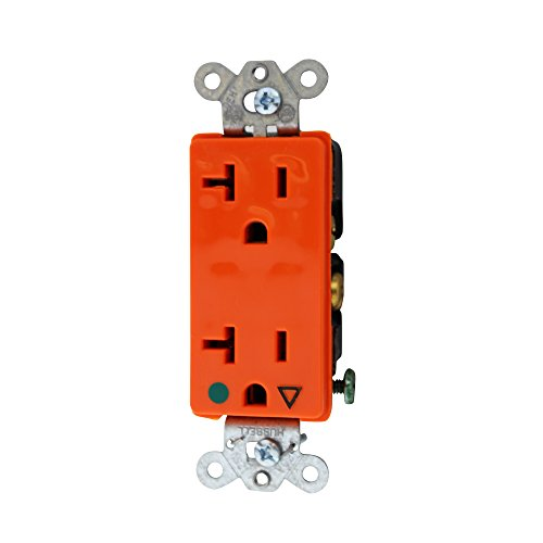 Decorator Style 2 Connector Plate - Hubbell Wiring Systems IG2182 SpikeShield HBL Style Line Extra Heavy Duty Hospital Grade Straight Blade Isolated Ground Duplex Receptacle, 125V, 20A, 1 HP, 2-Pole, 3-Wire, Orange