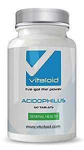Acidophilus Lactoacillus Probiótico Vitaloid - 60 Cápsulas - El Acidophilus Lactobacillus protege tu flora intestinal y mantiene una digestión equilibrada - Suplemento Vitamínico Probiótico - Acidophilus Lactobacillus ayuda a mantener un sistema digestivo saludable ayuda con la hinchazón y el trastorno de estómago - Utilizado para la limpieza de colon y como remedio Homeopático. Los Probióticos también son útiles para el tracto urinario, la salud vaginal y problemas de la piel (eccema y hongos)