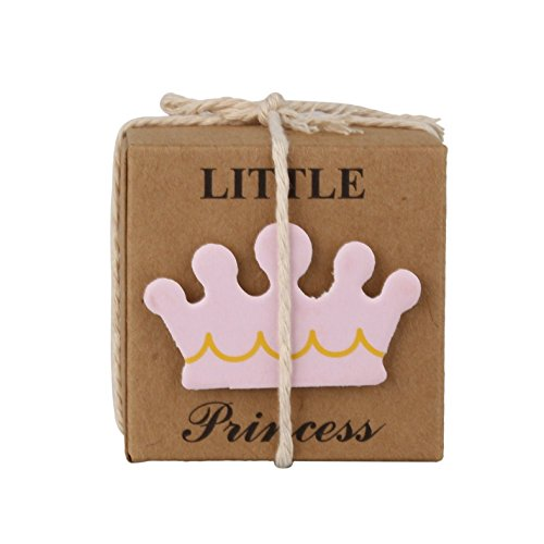 LASLU Little Princess Baby Shower Favor Boxes + 50pcs Twine Bow, Rustic Kraft Paper Candy Bag Box for Baby Shower Party Supplies Cute 1st Birthday Girl Decoration (50pcs, Pink)]()