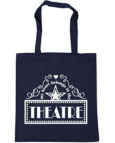 HippoWarehouse mi corazón pertenece en el teatro Tote Compras Bolsa de playa 42cm x38cm, 10litros azul marino