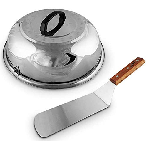 Large Cheese Melting Dome, Flat Grill Basting Cover Domes, Grill Lid Steam Cover, Silver Cheese Melt Dome + BONUS Hamburger Turner Spatula, Burger Griddle stainless steel wood flipper (Best Melting Cheeses For Grilled Cheese)