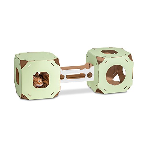 Catty Stacks Modular Cat House Cubes With Bridge  2 Cubes  Made In Usa  Green
