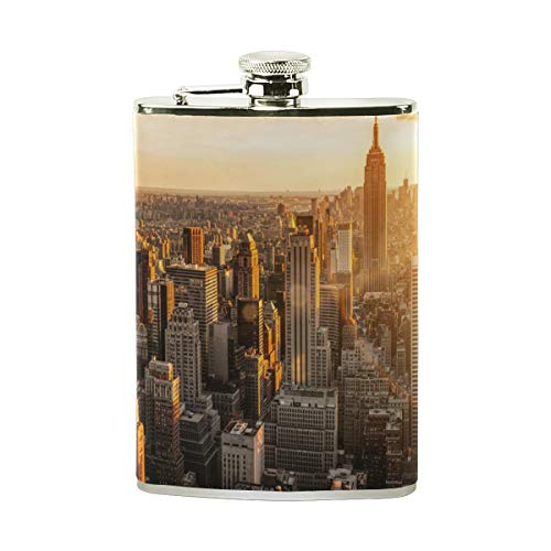 Steel Stainless Flask,New York Manhattan City Morning Dawn Skyscraper Leather Pocket Funnel with Screw Top,Liquor Alcohol Whiskey Classic Hip for Men,8 OZ