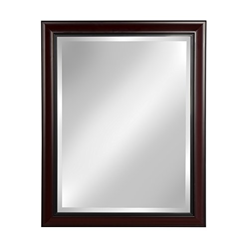 DesignOvation Dalat Cherry Framed Wall Vanity Beveled Mirror (Vanity Framed Mirrors)