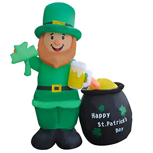 SEASONBLOW 6 Ft LED Light Up Inflatable St. Patrick's Day Decoration Waving Leprechaun Holding a Shamrock and Beer with Pot of Gold for Home Yard Lawn Garden Indoor Outdoor from SEASONBLOW