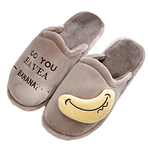 Dick Slippers Baumwolle Cotton Cartoon größe Indoor 41EU Brown Winter Farbe Gray AMINSHAP 40 Soled Winter Cute Paar Male Hause Mopp 5Inw7