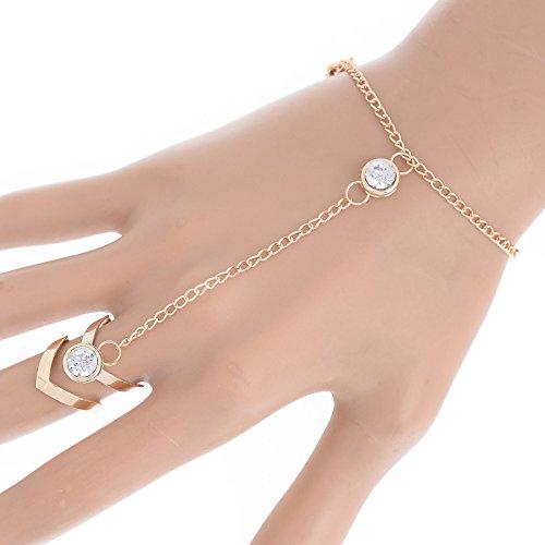 Fashion Glitter Rhinestone Hand Bracelet Slave Chain Link Finger Ring Gold - Links Length Including