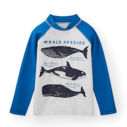 Toddler Designers - Hope & Henry Boys' White with Blue Sleeves and Whale Print Rash Guard Containing Recycled Fibers