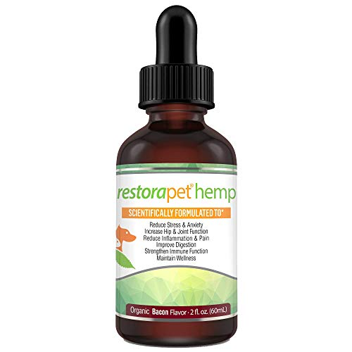 RestoraPet Organic Full Spectrum Hemp Oil for Dogs and Cats 600mg Anti-Inflammatory Liquid Drops Promote Joint Pain Relief and Mobility with 95% Curcuminoids, Vitalitrol, EPA/DHA and CoQ10 (2 oz)