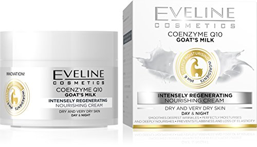 Eveline Cosmetics Nature Line Goats Milk Intensely Regenerating and Nourishing Day and Night Cream m, Reduce Wrinkles, Fine Lines, Even Skin Tone, Age Spots, Sun Spots with Coenzyme Q10 and - Hours Sunspot