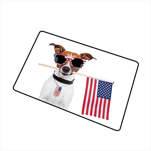 RelaxBear Dog Lover Decor Inlet Outdoor Door mat American Dog with USA Flag and Shades Sunglasses Anniversary Independence Liberty Catch dust Snow and mud W15.7 x L23.6 Inch