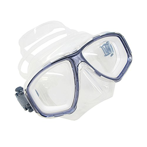Scuba Choice Translucent Titanium Blue Dive Mask Nearsighted Prescription RX Optical Corrective Lenses, -6.0