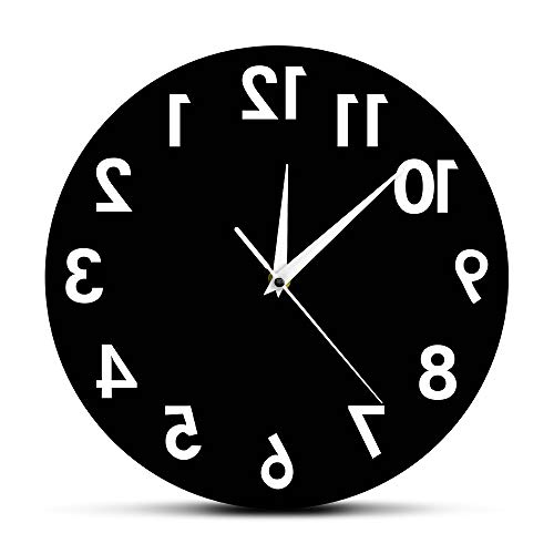 The Geeky Days Reverse Wall Clock 12 inch Unusual Numbers Backwards Modern -