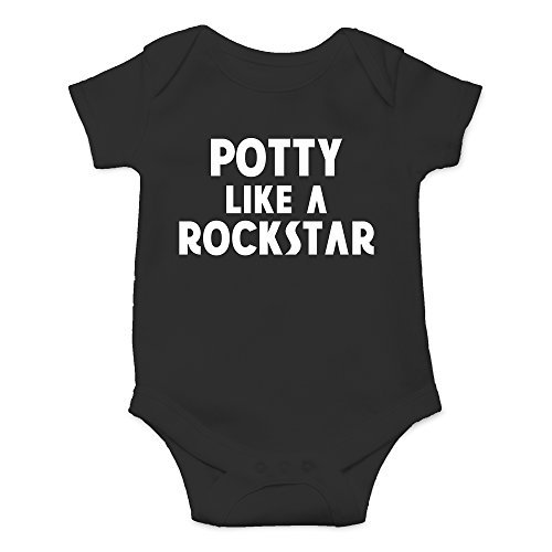 Crazy Bros Tee's Potty Like a Rockstar Funny Cute Novelty Infant One-Piece Baby Bodysuit (6 Months, -