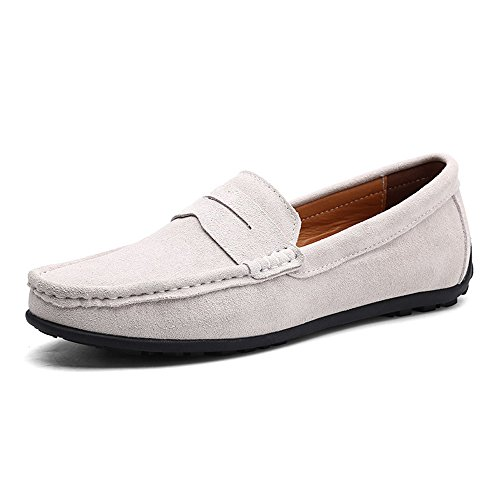 (VILOCY Men's Casual Suede Slip On Driving Moccasins Penny Loafers Flat Boat Shoes Light Gray,47)