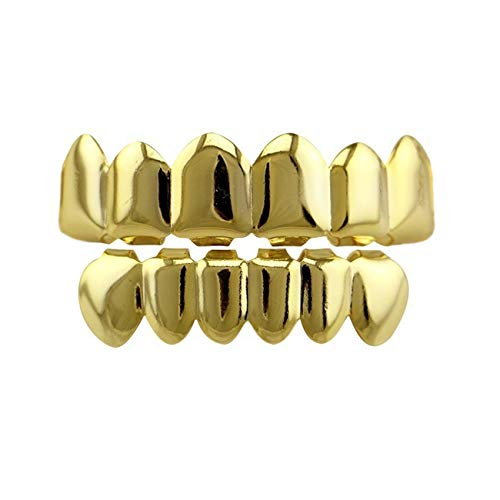 24K Gold Plated Hip Hop Teeth Grillz Punk Custom Fit Teeth Grillz Caps Top & Bottom Grill Set Removable Hip Hop Mouth Grills For Women Men Gift Halloween Party Photo -