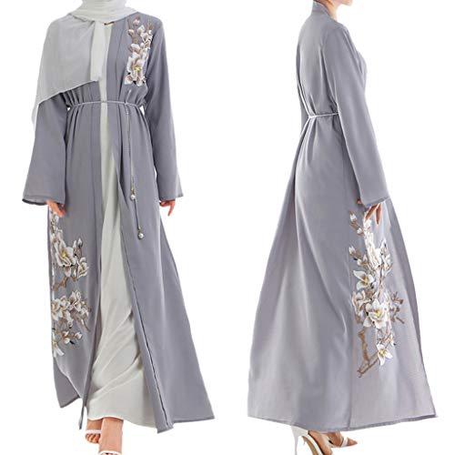 (Peacur Women Long Sleeve Dresses Muslim Arab Middle Eastern Floral Cardigan Robe Maxi Dress (L,)