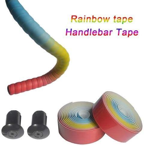EVA Comfort Gel Road Bike Handlebar Tape,Rainbow Bike Bar Tape with Bar End Plugs Lilith123 Bike Handlebar Tape,High Elastic PU