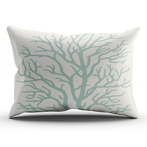 KEIBIKE Personalized Coral Tree in Seafoam Green Rectangle Decorative Lumbar Pillowcases Print Zippered Throw Pillow Covers Cases 12x24 Inches One Sided ()