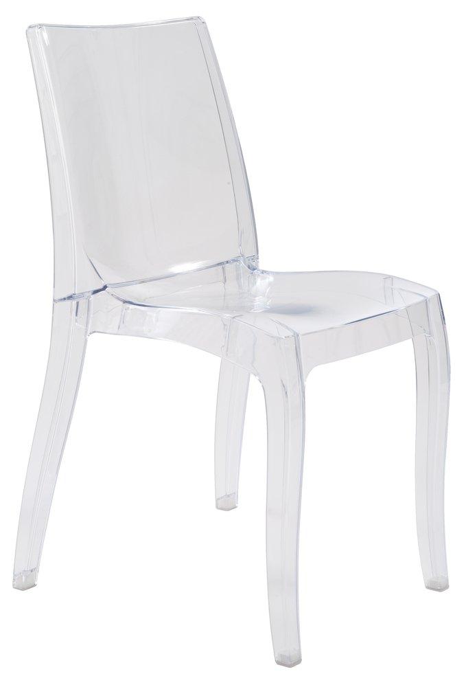 Sencilla silla apilable de policarbonato.