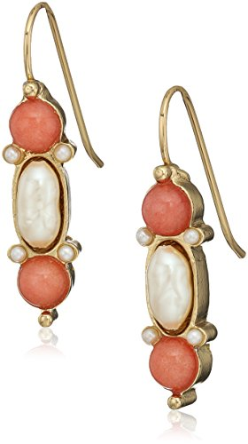 1928 jewelry 14k gold dipped pearl and semi precious gemstone carnelian drop earrings