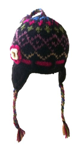 (Baby Sized Nepal Hand Knit Sherpa Hat with Ear Flaps, Trapper Ski Wool Fleeced Lined (pink flower))
