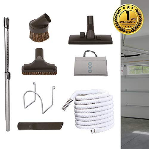 Deluxe Kit Garage - Nadair KIT-30G-OVO Garage Vacuum Accessories Kit - Set Includes 30ft Central Vac Hose With Combo Brush & 3 Hose Attachments - Dusting Brush - Upholstery Brush - Crevisse Brush, Black & White