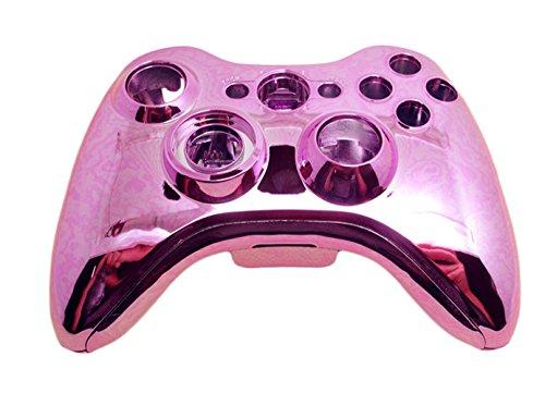 TQS™ Kit de sustitución de Rosa Chrome Xbox 360 Controller Shell + Piezas para botones y Tornillos