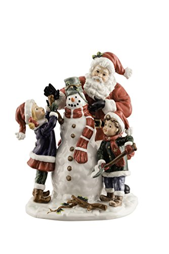 Aynsley China Santa with Snowman, Stone Red, 16 x 15 x 20 cm