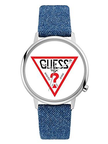 GUESS-Mens-Originals-Silver-Tone-and-Denim-Logo-Watch