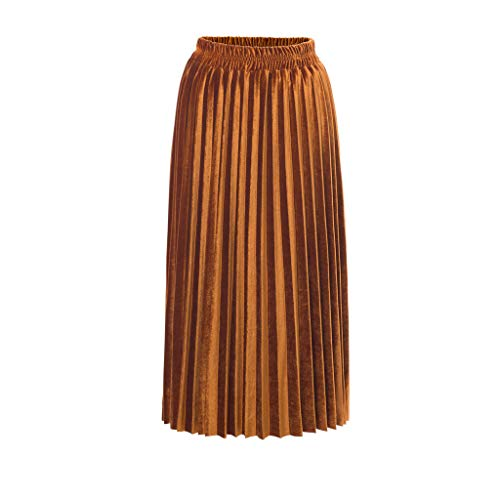 - OVERDOES Fashion Lady's High-Waist Elastic Pleated Velvet Half-Length Skirt Metal Skirt Gold