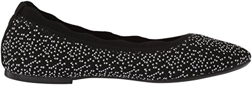 Cleo Skechers Skimmer Flat Dots Ballet Collar Women's Knit Scalloped Black Engineered 00AORr5xqw