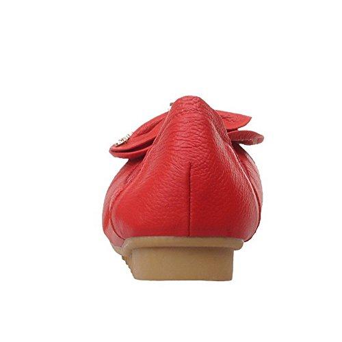 Basso Ballet Tirare Tacco 35 Scamosciata Moolarmi Pelle Puro Finta Rosso Flats Donna qwC8R