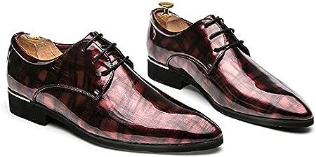 TAZAN Oxford Zapatos De Vestir Zapatos De Cuero De Los Hombres Con Cordones Up Smoking Zapatos De Charol Derby Negro Rojo Verde 38-46EU