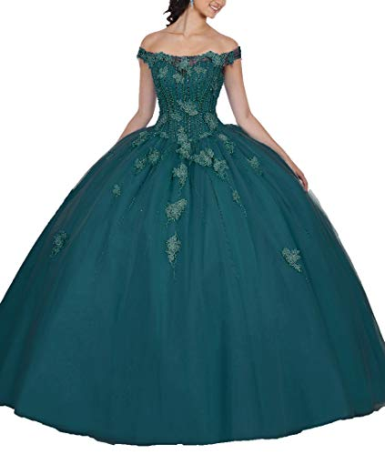 - EileenDor Women's Off The Shoulder Appliques Beading Vestidos De 15 Anos Quinceanera Dress Open Back Prom Gown with Shawl Teal
