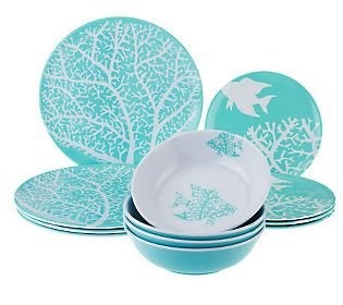 The Countess Collection 12-pc Outdoor Dinnerware Set (Turquoise Bluefish)  sc 1 st  Amazon UK & The Countess Collection 12-pc Outdoor Dinnerware Set (Turquoise ...