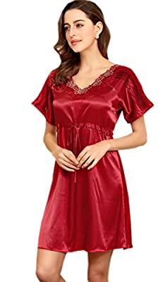 SexyTown Women Silk Blend Pajamas Plus Size Printed Nightgowns