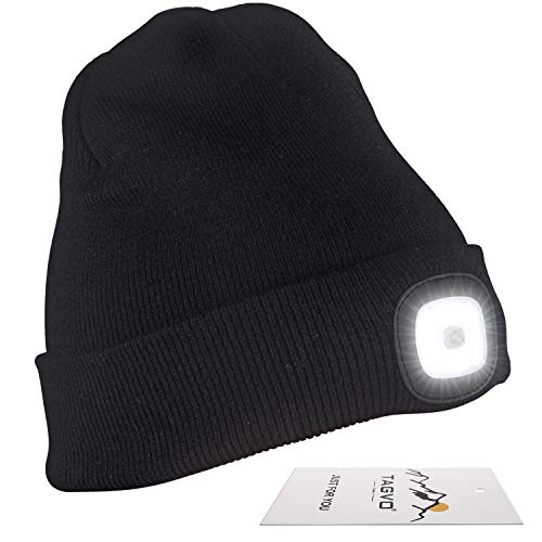 TAGVO USB Rechargeable LED Beanie Cap, Lighting and Flashing Alarm Modes 8 LED Hands Free Flashlight, Easy Install Quick Release Headlamp Beanie, Unisex Winter Warmer Knit Cap Hat - Black (Knit Driver Cap)