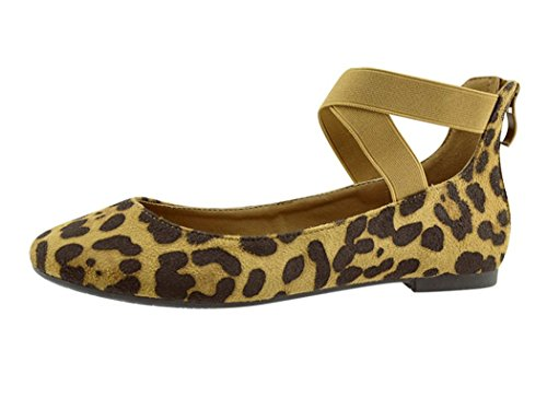 ANNA Dana-20 Women's Classic Ballerina Flats with Elastic Crossing Straps (6.5, Leopard New) ()