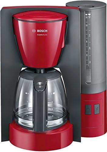 Bosch TKA6A044Machine à Café Comfort Line, Verseuse en Verre 1200W, 1,25 L, Rouge/Anthracite