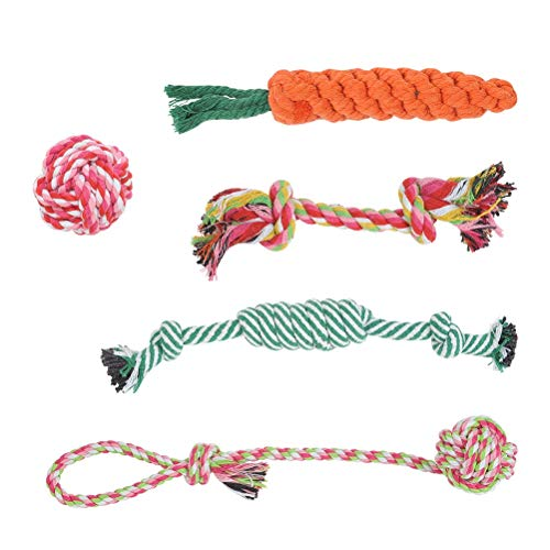 """""""N/A"""" 5pcs Dog Toy Rope Chew Toy – Dog Toy Rope Interactive Health Teeth Cleaning, Cotton Pet Chewing Rope Toy for Puppies, Dogs, Cats Teeth Cleaning"""