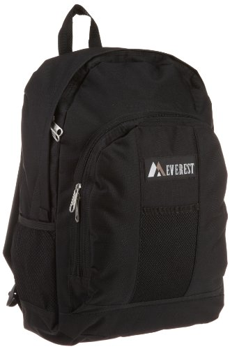 Everest Luggage Backpack with Front and Side Pockets, Black, Large ()